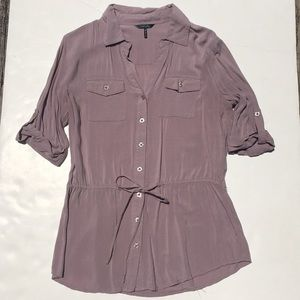 Daisy Fuentes beige blouse 1/2 sleeve size S